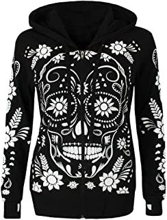 Womens Hoodies! Pervobs Women Long Sleeve Skull Print Hooded Zipper Hooded Sweatshirt Blouse Pullover Tops
