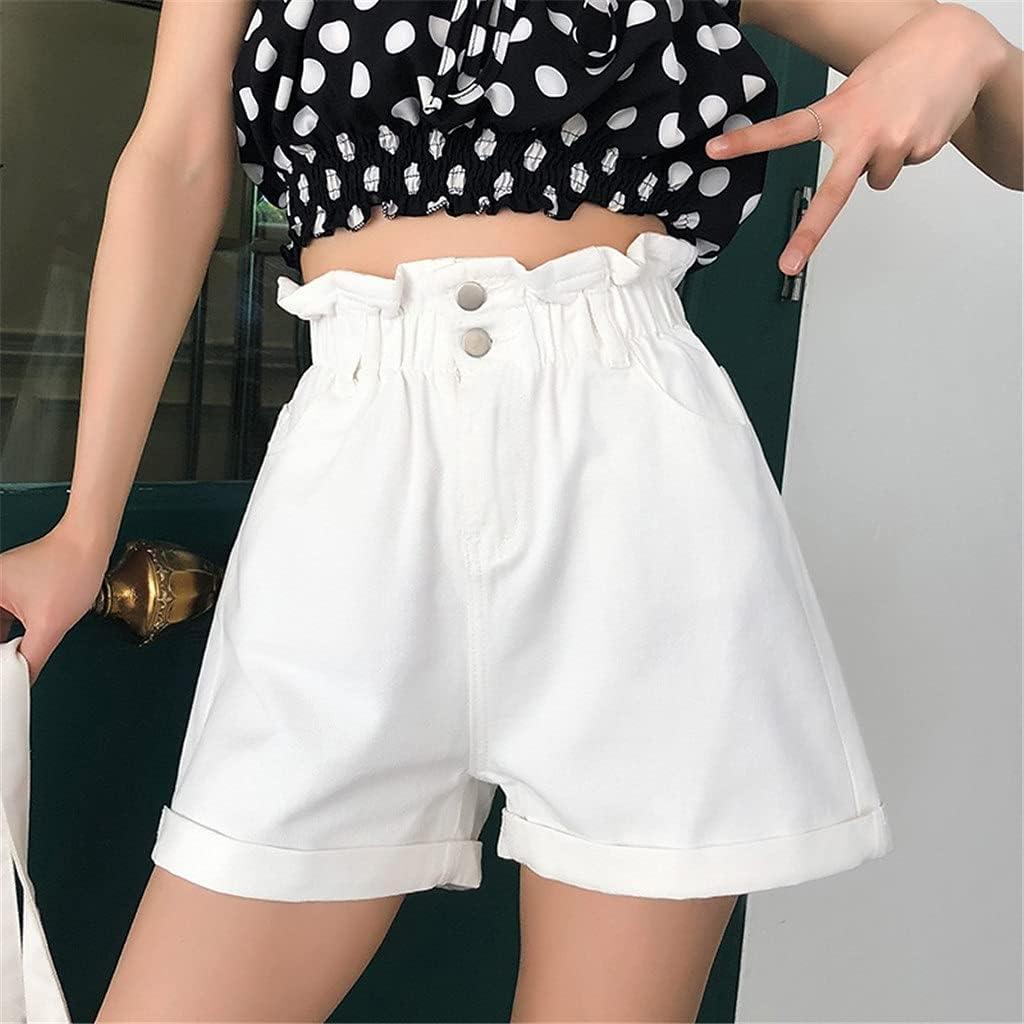 PDGJG Plus Size Summer Black Women's Denim Shorts Large Size 5XL Ruffle White High Waisted Shorts Elastic Waist Jeans (Color : White, Size : 3XL-Code)