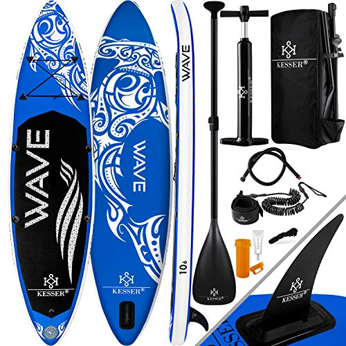 KESSER® Aufblasbare SUP Board Set Stand Up Paddle Board | 366x76x15cm 12.0\' | Premium Surfboard Wassersport | 6 Zoll Dick | Komplettes Zubehör | 130kg, Blau