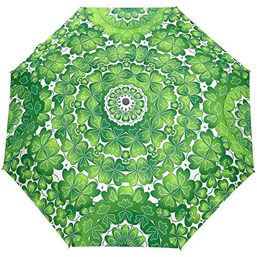 Hallo Frühlingsblumengrünblätter Patrick Day Auto Öffnen Schließen Sun Rain Umbrella