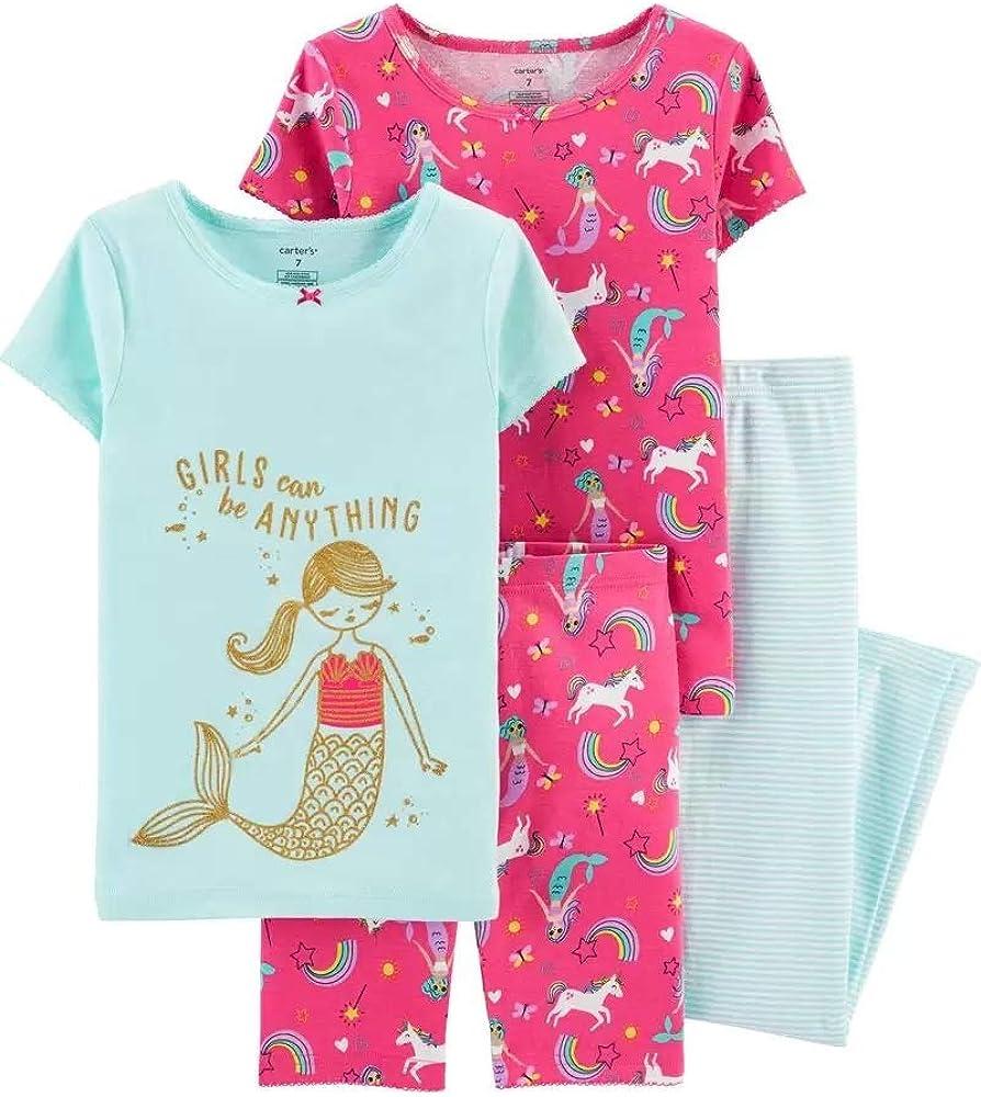 Carter's Toddler and Baby Girls' 4 Piece Cotton Pajama Set (Mermaid, 18m)