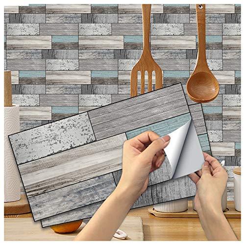 Ancoree Efecto Grano de Madera Pegatina de Pared Azulejos Transferencias para Sofá Dormitorio Cocina Baño, Calcomanías Autoadhesivas de Azulejos,15x30cm (J,36pcs)