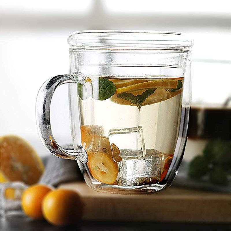 Large Coffee Mugs Double Wall Glass Cup With Handle Dishwasher Microwave Safe Clear Unique Insulated 16 Oz 475ml With Lid