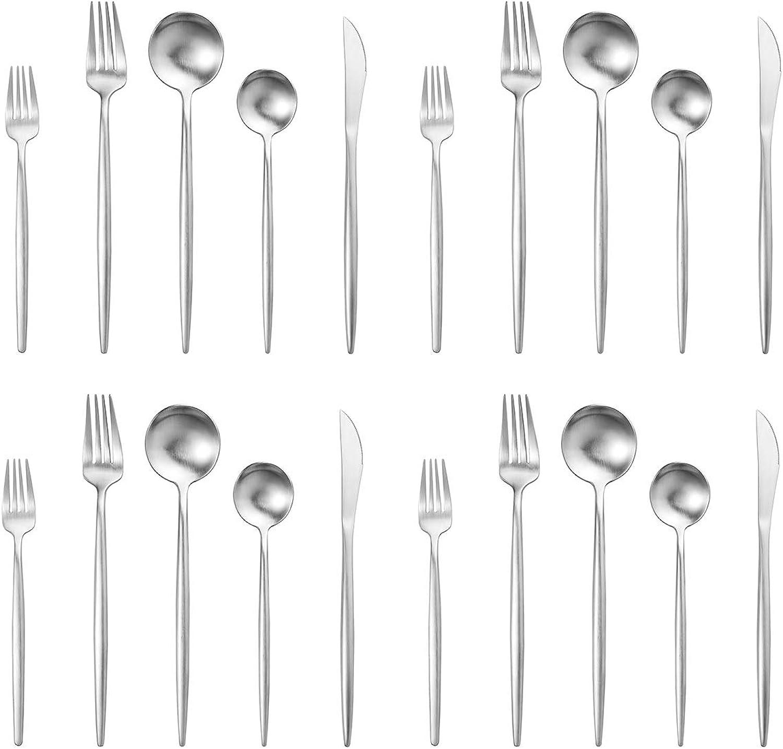 Artthome 20-Piece 18 10 Stainless Steel Flatware Silverware Dinnerware Set Cutlery Tableware Include Knife Fork Spoon Dishwasher Safe (matte silver)