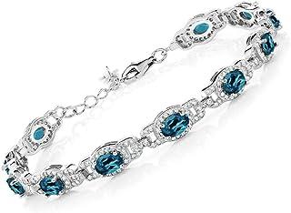 Gem Stone King 925 Sterling Silver London Blue Topaz Tennis Bracelet For Women Gemstone Birthstone, 9.65 Ct Oval, 7 Inch With 1 Inch Extender