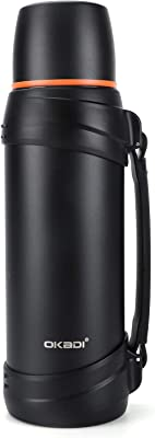OKADI Coffee Thermos - 85oz Vacuum Insulated Bottle with Plastic Cup - Stainless Steel Double-Wall Vacuum Insulated Technology