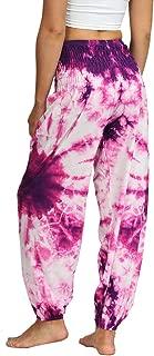Women's Boho Pants Smock Waist Yoga Harem Pants Jogger Hippie Pants with Pockets