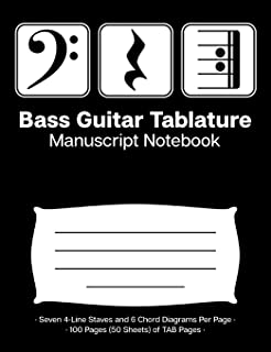 Bass Guitar Tablature Manuscript Notebook: Blank Bass Guitar TAB Paper Notebook; Bass Clef Play Rest Repeat Cover Design in White on Black Background