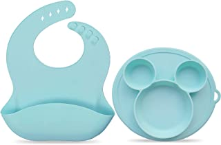 Baby Feeding Set with Silicone Bib and Suction Bowl | Bib Set for Baby Girl - Bib Set Baby Boy | Silicon Adjustable Durabl...