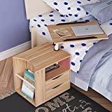 sogesfurniture Height Adjustable Nightstand Movable Bedroom Side Table Overbed Bedside Table Stackable End Table Cabinet for Storage,Oak BHUS-CT1-OK