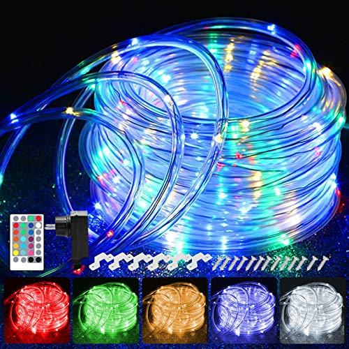 20M LED Schlauch Lichterkette Außen, 200er LED Weihnachtsbeleuchtung Außen IP68, 16 Farben Lichterkette Innen Strombetrieben, Patio...