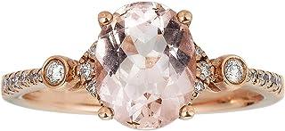 Gin & Grace 10K Rose Gold Natural Diamond (I1,I2) & Genuine Morganite Ring for Women