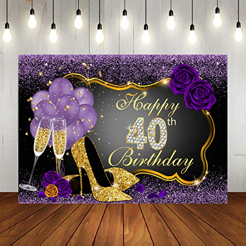 Happy 40th Birthday Backdrops Shining Purple Dots and Gold Frame Photography Background for Party Decorations Rose Floral Balloons Heels Champagne Glass Party Banner Supplies Photo Studio Props 7x5ft