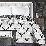 DecoKing 86360 Tagesdecke 220 x 240 cm schwarz weiß Bettüberwurf zweiseitig leicht zu pflegen Hirsch Deer Black White Hypnosis Collection Deerest