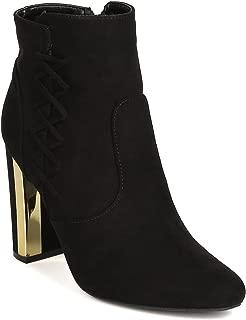 Women Faux Suede Lace Up Metallic Trim Chunky Heel Bootie GJ18 - Black