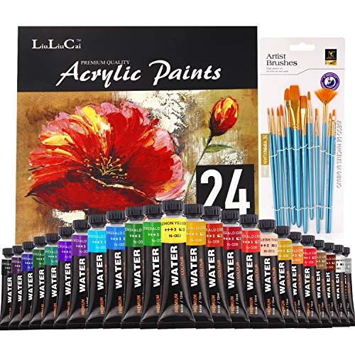 24 Colors Acrylic Paint Set (12ml/Tube), with Premium Paint Brushes, Paint Trays, Non Toxic. Art Crafts for Beginners, Professional Artists, Perfect for Canvas, Wood, Ceramic, Fabric, Rock Painting
