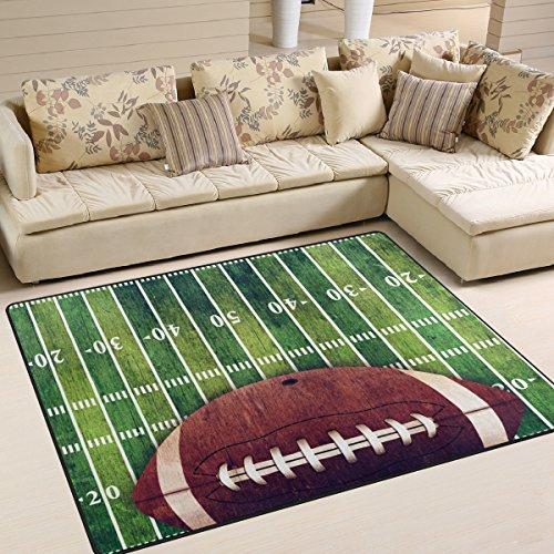 Naanle American Football Field Rutschfester Teppich für Wohnzimmer, Esszimmer, Schlafzimmer, Küche, 50 x 80 cm, Polyester, multi, 120 x 160 cm(4' x 5')