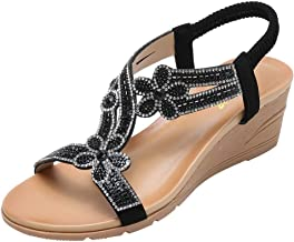 Tongs Chaussures /Ét/é Nu Pieds /à Talons Plats Claquettes Plage Bride Cheville Sandales Compens/ées Confortables Strass 2019 ELECTRI Sandales Femmes Plates