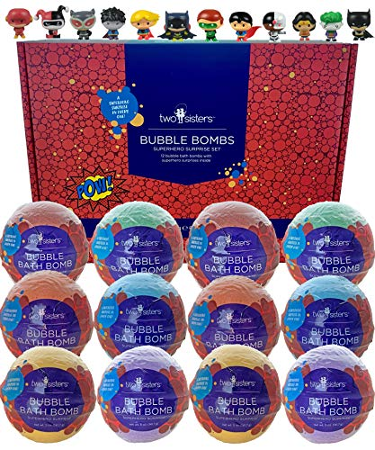 12 Superhero Bubble Bath Bombs for Kids with Surprise Toys Inside by Two Sisters Spa. Large 99% Natural Fizzies in Gift Box. Moisturizes Dry Sensitive Skin. Releases Color, Scent, and Bubbles