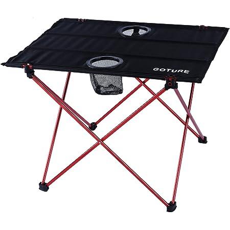 Goture キャンプテーブル 軽量0.74KG 【長さ56幅41高さ40cm】 アウトドアテーブル おりたたみ ドリンクホルダー付き 耐熱 収納袋付き 折りたたみテーブル