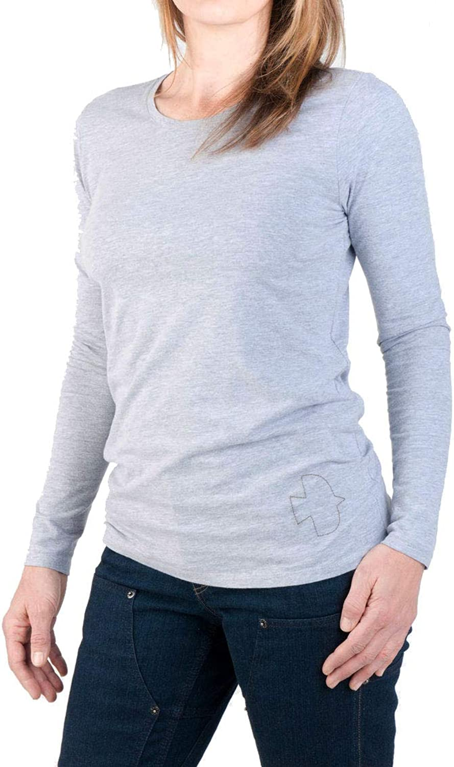Dovetail Workwear Long Sleeve Layering Tee  Feather Weight Breathable Scoop Neck  Embroidered Dove Detail