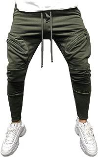 GRMO Men Athletic Solid Color Drawstring Camo Patchwork Jogger Pants