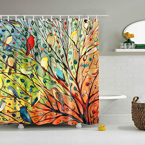 XCBN Arbre Plantes Tropicales écran de Bain étanche avec Crochets Rideaux de Douche Rideau de Salle de Bain pour la décoration de Salle de Bain A36 150x180 cm