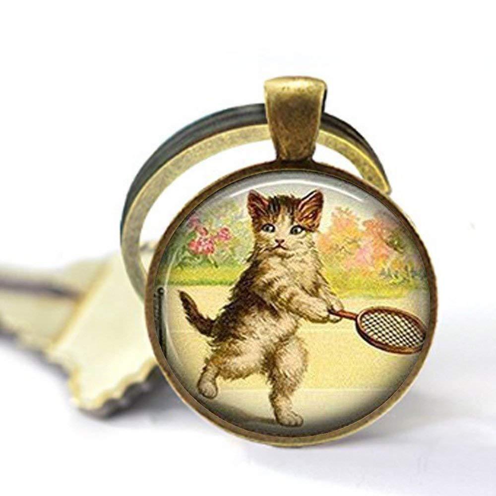 Llavero de gato de tenis, joyería para gatos, llavero de gato, llavero de tenis de gato, regalo para jugador de tenis: Amazon.es: Hogar