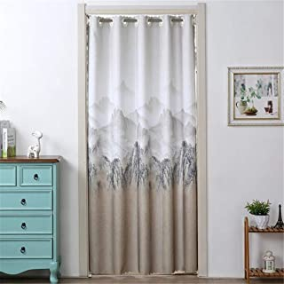 Guoshang Mountain Stripe Printing Partition Curtain Doorway Curtain for Home Bedroom Study Door Protection Decoration,1#