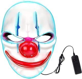 Maschera da clown a LED, unisex, con luce spaventosa e spaventosa per cosplay, 3 modalità di luce fresca, per adulti, per ...