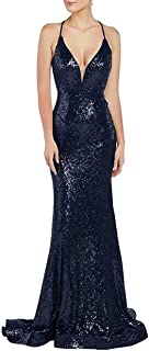 Jonlyc Women's Deep V-Neck Mermaid Prom Dresses Long Sequin Cross-Back Evening Gowns
