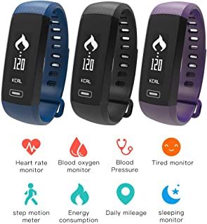 HSW M2 Smart Band Bracelet Watch Bluetooth Smartband Blood Pressure Blood Oxygen Oximeter Heart Rate Monitor Pedometer Fitness Tracker Wristband for iOS Android iPhone Samsung