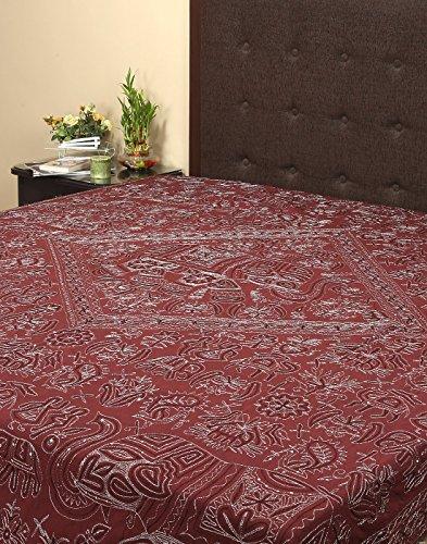Rajrang Doppelbettgröße Bestickte Tagesdecke Baumwolle Coffee Elefant Doppelzimmer Bettlaken