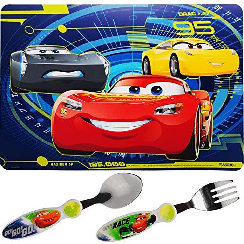 alles-meine.de GmbH 3 TLG. Set _ Besteckset - Edelstahl + Unterlage - Disney Cars - Auto - Lightning McQueen - Besteck - rostfrei _ BPA frei - Platzdeckchen Tischunterlage Kinder..