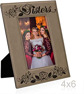 Kate Posh Sisters Engraved Leather Picture Frame - Maid of Honor Gifts, Matron of Honor Gifts, Bridesmaid Wedding Gifts, Birthday Gifts, Big Sister, Little Sister, Best Friend (4x6-Vertical)