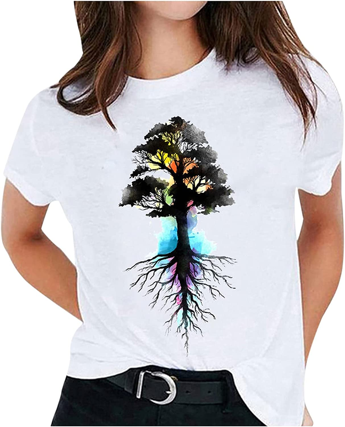 FANGTION T-Shirt for Women Elegant Feather Max 63% OFF Short S Print Max 50% OFF Summer