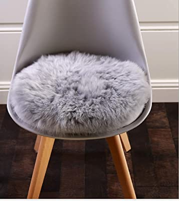 KAIHONG Faux Fur Sheepskin Style Rug (30 x 30 cm) Faux Fleece Chair Cover Seat Pad Soft Fluffy Shaggy Area Rugs For Bedroom Sofa Floor (Round gray)