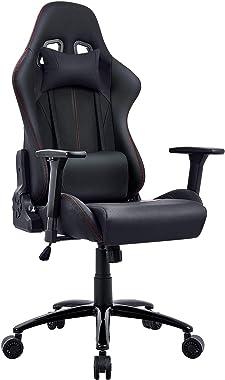 Chaise Gaming, Racing Chaise de Bureau Ergonomique Chaise Gamer Noir Dossier Haut Grand Assis Rembourré Accoudoirs Réglable a