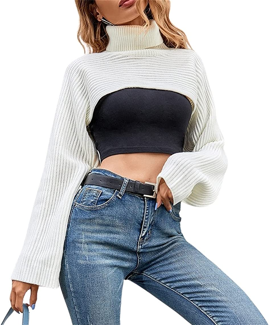 SheIn Women's Turtleneck Long Sleeve Solid Pullover Ribbed Crop Sweater Tops