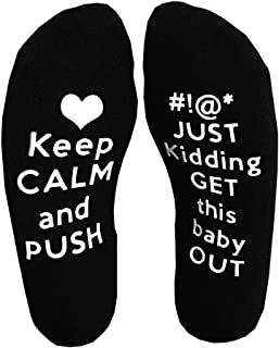Keep Calm Get This Baby Out Labor Delivery NON SLIP Maternity Hospital Socks Pregnancy Luxurious Combed Cotton Baby Shower Gift