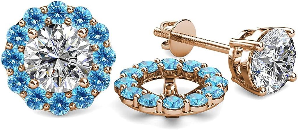 TriJewels Blue Topaz Halo Jacket for Stud Earrings 0.84 ct tw in 14K Rose Gold