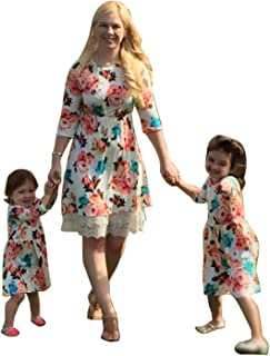 Mommy Me 1 Piece Floral Print Dress Family Matching Long Sleeve High Waist Lace Midi Dress Spring Fall Outfits