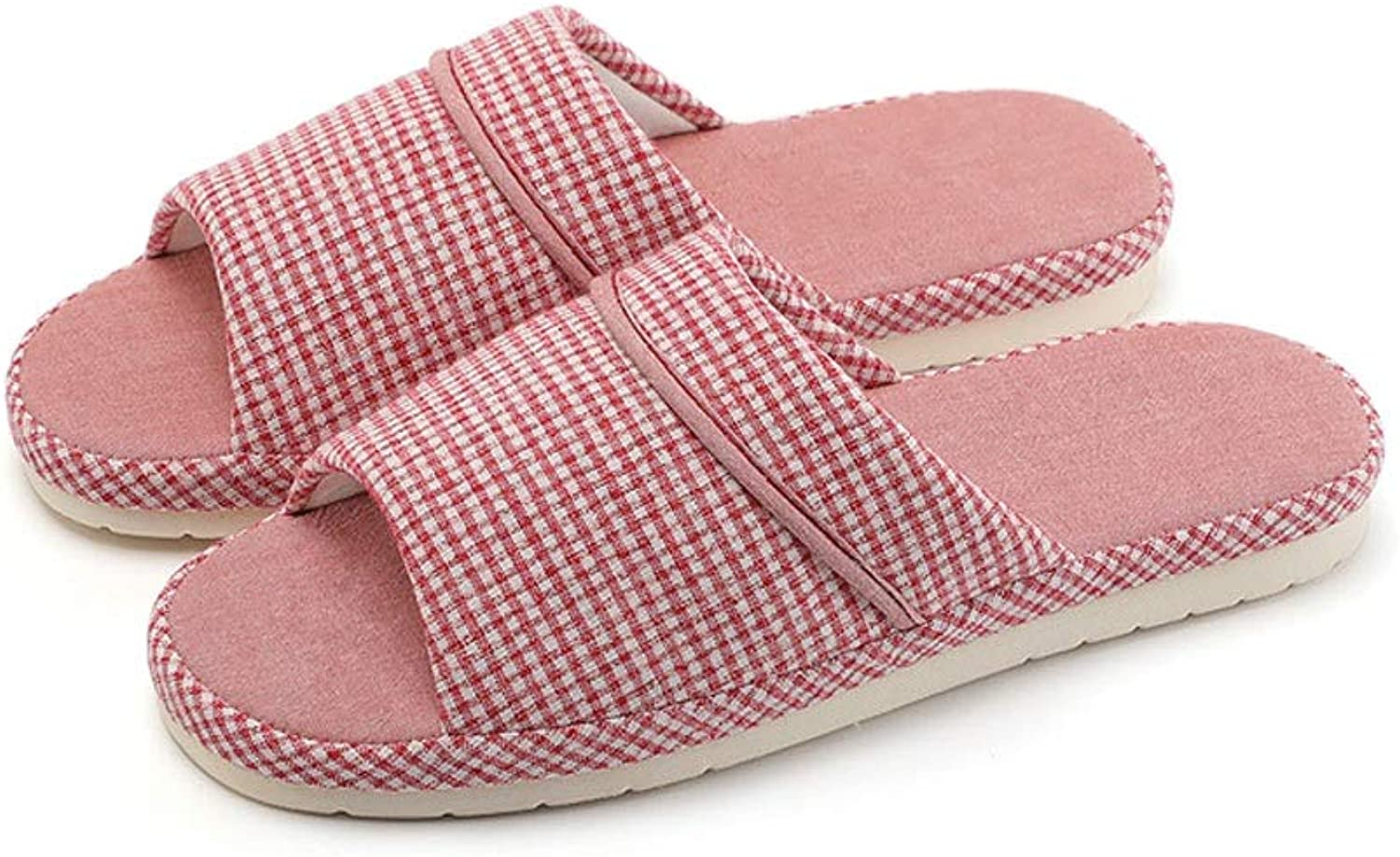 Zhiling flip Flop- Spring and Autumn Linen Slippers Women's Thick-Soled Four Seasons Home Indoor Non-Slip Cotton and Linen Drag Silent shoes Women's RED, Size   39-40code