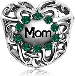 JMQJewelry Mother Mom Heart Love Birthday Birthstone Charms For Bracelets Women Jewelry