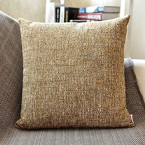 MRBJC Almohadas estilo nórdico lino espesar cojín decorativo cuadrado almohada con almohada para sofá sala de estar sofá cama marrón 30x50cm