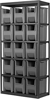 AKRO-MILS AS187913014 18-Inch D by 36-Inch W by 79-Inch H Powder Coated Steel Shelving Unit with 6 Shelves and 16 13014 Stak-N-Store Bins, Grey
