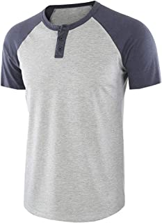 Men O-neck Short Sleeve T-shirt Tops, Male Color Patchwork Fashion Button Tee Shirt Blouse Baggy Solid Tunic Tops Sweatshirt Tops Shirt
