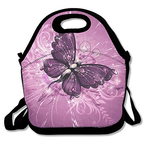 Neoprene Lunch Tote - Butterfly Waterproof Reusable Lunch Bags Boxes For Men Women Adults Kids Toddler Nurses With Adjustable Shoulder Strap - Best Travel Bag