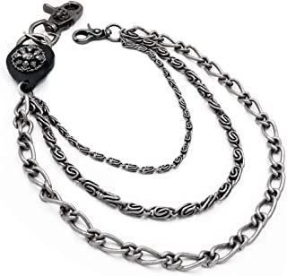 Uniqsum Round Skull Charm Triple Wallet chain Gun-metal Biker Punk Key chain