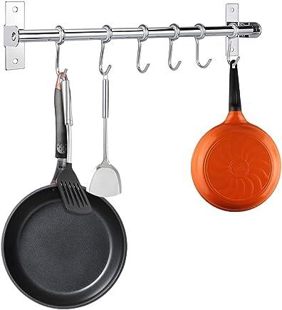 primrosely Estantes de la Cubierta del pote y Organizador Accesorios de Cocina vers/átiles de Plata Soldadura Artesanal para Sujetar Tapas de ollas y Utensilios de Cocina